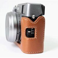 Wholesale Leather Camera Case Bag New Hard Camera Half Body Set Case for Fujifilm Fuji X100 X100S X100T Genuine Leather Cover Accessories