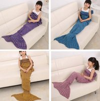 Wholesale DHL Free Kids Knitted Mermaid Blankets Handmade Mermaid Tail Blankets Mermaid Tail Sleeping Bag Knit Sofa Nap Blankets Costume Cocoon