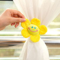 Wholesale Lovely Sunflower Smile Face Buckle Plush Curtain Tie Backs Home Decoration Pair