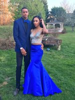 Wholesale 2016 Two Piece Blingbling Crystal Beaded Prom Dresses Sexy V Neck back Zipper cusotm made Black Girl Royal Blue Evening Party Gowns