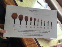 Cheap 2016 10pcs set Tooth Brush Shape Oval Makeup Brush Set Professional Foundation Powder makeup brushes Makeup Tool with retail box LOGO 12set