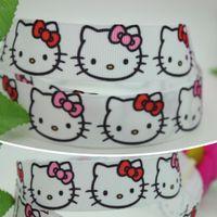 baby garment bags - 7 quot mm Cartoon Cute White Kitty Printed Grosgrain Ribbon Hair DIY Craft Party Decos Baby Item Garment Bags A2
