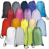 bag drawstring ribbon - Custom LOGO Basic Drawstring Tote Cinch Sack Promotional waterproof Backpack folding sport Bag for men and women polyester sackbag
