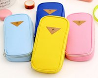 Wholesale Korean simple candy staionery canvas pencil cases school office students zipper pen bags