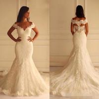 Wholesale Plus Size Mermaid Wedding Dresses Vintage Lace Appliques Bridal Gowns V Neck Off the Shoulder Hollow Back Custom Made Brides Wear