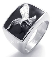 american bald eagles - USA Popular L Stainless Steel Black Enamel Casting Bald Eagle Hawk Rings SZ