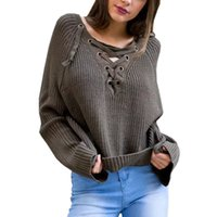 Wholesale 2016 fashion brand new Women Sweaters Lace Up Winter Knitted Casual Loose Belt Tops Sexy Jumpers Pull Femme Hem Pullover Outwear