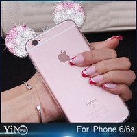 apple new mouse - Colorful New D Soft Cute Mickey Mouse Ear Silicone Phone Case Diamond Rhineston Cover For iphone s Plus