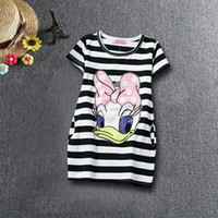 Cheap Toddler Girl Clothes Summer Cotton Donald Duck Party Frock Dress For Girl Casual Wear Baby Kids Stripe Dresses for Girls