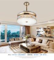 Wholesale Crystal folding ceiling fan light telescopic modern minimalist living room fan lights crystal ceiling dining room bedroom fans