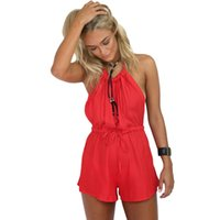 overalls - Summer Rompers Women Sexy Jumpsuit Halter Neck Sleeveless High Waist Solid Color Spaghetti Strap Casual Overalls Bodysuit Red G2302