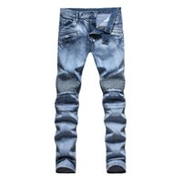 Wholesale High Quality Balmain Men Jeans Didscount Light Blue Motorcycle Pants Washing Hiphop Rock Washed Robin Jeans