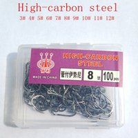 Wholesale 100Pcs fishing hooks GF High carbon steel CarbonBlack Bait Holder Fish Hook Set High quality barbed