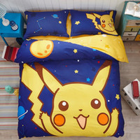 bedding for girls - 4pcs set Cotton Poke Pikachu Bedding Set Cartoon Bed Sheet Boys Girls Comforter Set Quilt Cover Pillow Case For Children Kids PPA217