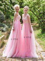 b photos - Pink Cheap Long Bridesmaid Dress Includes A Sweetheart Neck B Deep V Neck Floor Length Appliqes Elegant Design A Line Prom Dress Formal