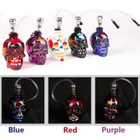 Wholesale Sharpstone Skull Glass Hookah Smoking Pipes Zinc Alloy Glass Mini Smoking Pipes Colors Available