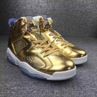 best online fabrics - 2016 Retro Pinnacle Metallic Gold Spike Lee Oscar Mens Basketball Shoes Air VI Hot Sale Best Quality Cheap Shoes Online Sneakers