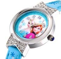 anna watch - Cute bowknot Diamond Cartoon Children Watch Princess Elsa Anna Watches Fashion Kids Frozen Snowflake Leather quartz WristWatch Girl Gift