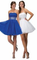 Wholesale 2016 New Homecoming Short Prom Dresses Graduation Party Cocktail Gown With Strapless A Line Beads Crystals Pleats Royal Blue Tulle Cheap