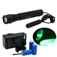 Wholesale WF C Tactical LED Flashlight Toch Remote Pressure Switch Holder Green Light Mode Water Resistant Lamp Outdoor Sports Battery Char