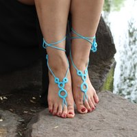 Wholesale Crochet Barefoot Sandals Nude shoes Foot Jewelry Beach Wedding Sexy Anklet Bellydance Beach Footwear Gift J989