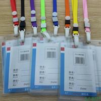 Wholesale Plastic hook ribbon a7 B2 card case sets lanyard badge work permit card case