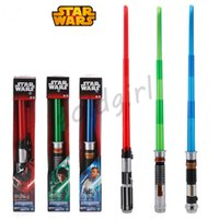 Wholesale EMS Star Wars Starwars Lightsaber Light saber With sound and Light Cosplay Laser Sword attachable Extendable Nice Led toys