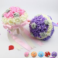 Wholesale Silk Champagne Bridal Bouquets - 2016 New Beautiful Wedding Bridal Bouquet Artificial Silk Rose Wedding Decoration Flowers for Bride Bridesmaid Purple Pink Champagne Colors