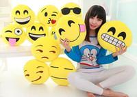 Wholesale Size15cm Cushions Cute Lovely Emoji Smiley Pillows Cartoon Cushion Pillows Yellow Round Pillow Stuffed Plush Xmas Kids Toys Top Selling