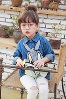 Wholesale 2016 New Spring Autumn Girl Shirts Cartoon Rabbit Bunny Long Sleeve Denim Shirts Kids Clothing C016