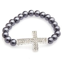 bead stretchy bracelet bangle - Fashion Women Charm Glass Pearl Beads With Two Rows Crystal Cross Fashion Stretchy Bangle Bracelets
