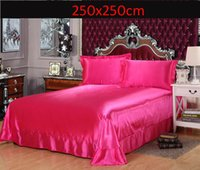 Wholesale Hotel home Luxury rose Flat Sheet Twin Queen King Size sheets Satin Silk Imitation Silk Super Soft High Quality Bed Sheets Home Textiles