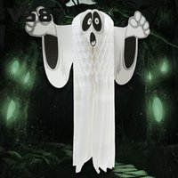Wholesale Hot Halloween Paper Hanging Ghost Shroud Door Hanger Foldable Fun White Halloween Party Props Decoration toycity