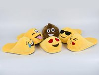 Wholesale Emoji Slippers Emoji Smile Cartoon Plush Slipper Shoes Emoji Soft Warm Household Winter Slippers for Children Embroidery Slippers