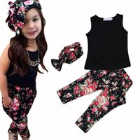 beaded animal patterns - 2016 suit Trendy Childrens Outfits with Hairband Floral Pattern Cotton Comfortable Causal Girls Clothing Set Cute Clothes for Girls