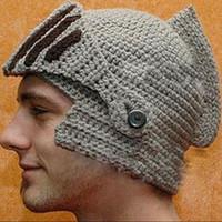 Wholesale Fashion Keep Warm Men Unisex Roman Knight Helmet Caps Cool Handmade Knit Ski Hat Winter Hats Gorro Funny Party Ski Mask Beanies