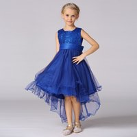Wholesale Flower Girl Dresses In Storage Sequined Layer Tulle Dress Front Short Back Long Kids Gowns Formal Wear Red Blue Purple Color years
