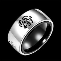 african fashion trends - Smooth Floral Print Stainless Steel Ring Fashion Trends Vintage Platinum Plated Charms Band Rings Finger Jewelry Wedding Party Accessories