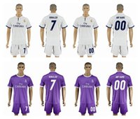 Wholesale 16 Madrid Home White Jerseys Top Quality Soccer Jerseys with Shorts Mens Soccer Suits Shirts High Quality RONALDO Players Uniforms