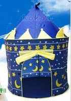 Wholesale 24pcs Lovely Prince and Princess Palace Castle Children Play Tent Toy Indoor Outdoor blue and pink colors mixed