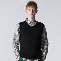 Wholesale Three Kinds Of Color Of Men s Vests V neck Pullover Sleeve Cotton Blend Men Sweater Computer Knitted Vests B3OB67127