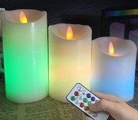 Wholesale 6PCS with Different Size Use for Gifts perfect chaning color effect moving wick flameless led candle with timer DHL