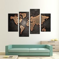Wholesale 4 Picture Combination General World Map Black Background Wall Art Painting Pictures Print On Canvas Art The Picture For Home Modern Decora