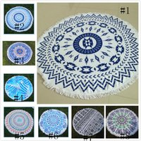 Wholesale Reactive Dyes Bohemia Beach Round Towel Not fade Tassel Beach Towel cm Cotton bath towel blanket Cotton Bathing Towels AZO FREE