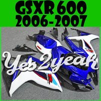 Wholesale 3gifts New Fairings Kits For SUZUKI GSXR GSXR750 GSXR600 GSX R600 R750 GSX R600 GSX R750 K6 Cool buy Blue White