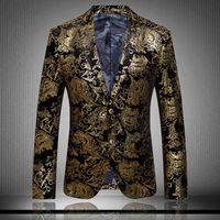 baroque costumes - 2016 Blazers Mens Gold Suits Luxury Brand Suit Jacket Baroque Mens Paisley Blazer Velvet Wedding Dress Stage Costumes Chaquetas