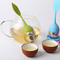 Wholesale New silicon tea infuser Leaf Silicone Tea Infuser with Food Grade make tea bag filter creative Stainless Steel Tea Strainers