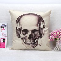 Wholesale Vintage Printed Pillow Case Halloween Skull Headphones Cushion Cotton Linen Cover Square X45CM