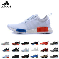 athletic boots women - Adidas NMD Runner Primeknit Black Red Blue Men s Sports Running Shoes all black all white flyknit athletic shoes plus size
