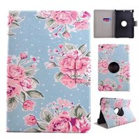 beautiful ipad case - Hottest classical tablet leather case beautiful flower degree rotate leather cover for ipad mini with anti slip stander holder